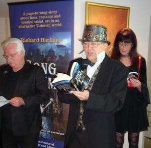 Terry on left, me in my steampunk hat, Aileen ready for her lines